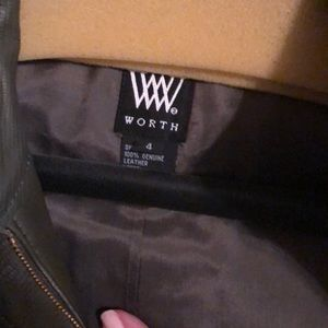 W by with moss green leather jacket. Never worn